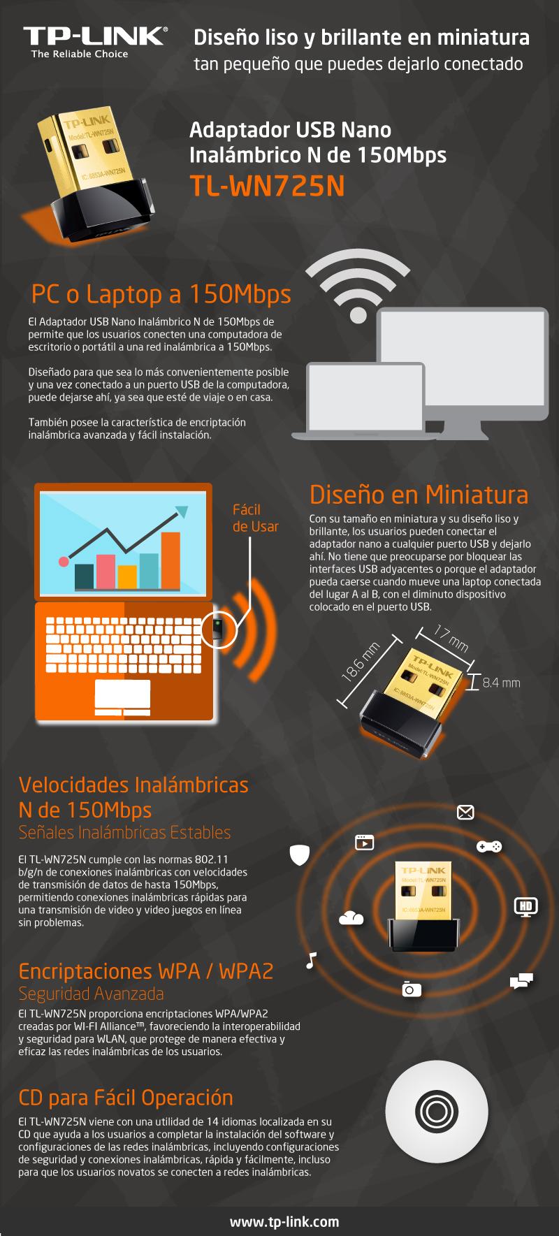 TP-Link Adaptador de Red USB TL-WN725N Inalám 2.4-2.4835GHz TL-WN725N |  Abasteo.mx
